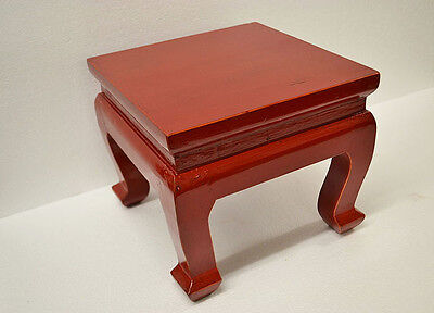 Red Chinese Small Square Wooden Low Stool Table Display Stand Dec22-F
