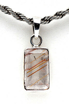 Sterling Silver Golden Rutilated Quartz Pendant Gemstone Jewelry Chakra Crystal