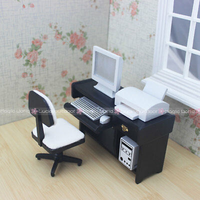1:12 Dollhouse Miniatures Desk Computer Chair Printer Office Furniture Wood 4pc