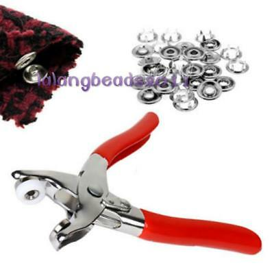 Metal Pliers Prong Ring Snap Buttons Press Studs Poppers Fasteners Tools 9.5mm