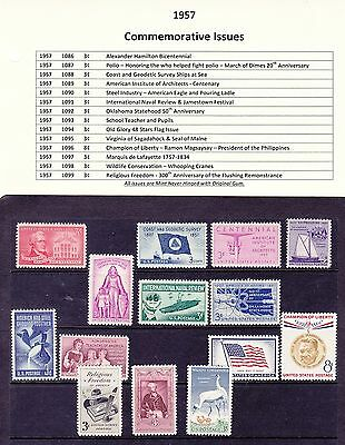 1957 Year Commemorative Postage Stamp Full Year Set Mint Never Hinged