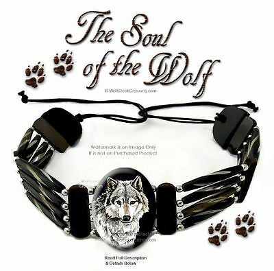 Soul Of The Wolf Carved Bone Bead & Leather Wolf Necklace Choker Wolves Art *