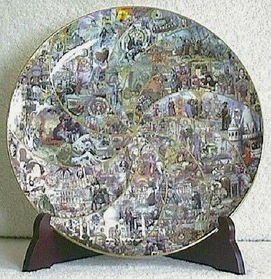 """Fitz and Floyd 15"""" TIME TAPESTRY PLATE with Book, Easel, Magnifying Glass, NEW"""