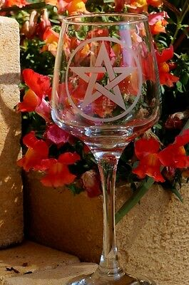 Pentagram Pentacle Glass hand made Wicca Altar Goth glassware wine Gift unique