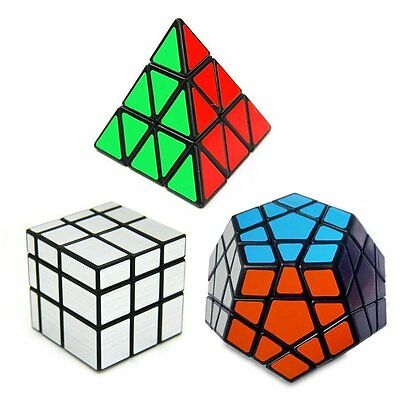 ShengShou Pyraminx, Megaminx, Silver Mirror Puzzle Cube Magic Cube Set (3-Pack)