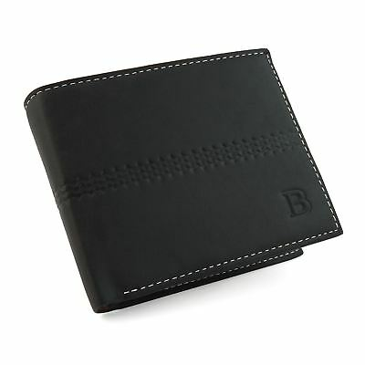 Mens Genuine Leather Bifold Wallet Purse Business Credit Card Holder Black New