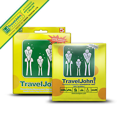 TravelJohn Disposable Vomit Bags (5 Pack) Eco Friendly Vomit Travel Sickness Bag