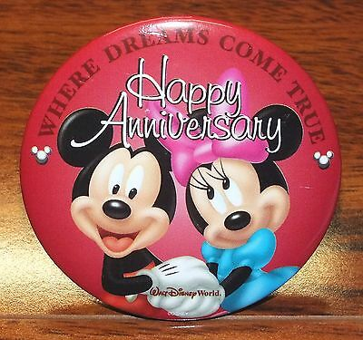 Walt Disney Happy Anniversary Where Dreams Come True Red Round Pin-Back Button!
