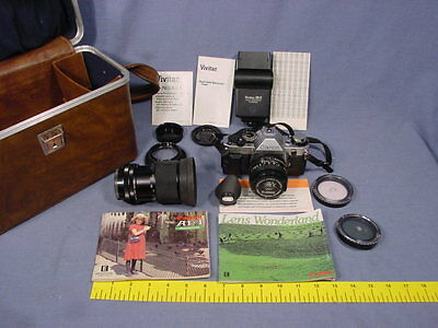 CANON AE-1 CAMERA with Manuals Two Lenses Filters Vivitar 28-D Flash LOT Olympic