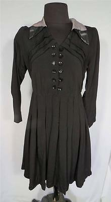 Very Rare French Wwii Era 1940'S Vintage Black Crepe Rayon Dress Size 6