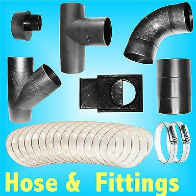 100mm Dust Extractor Hose / Clips / Elbow Tee Connector Hood Gate Vacuum