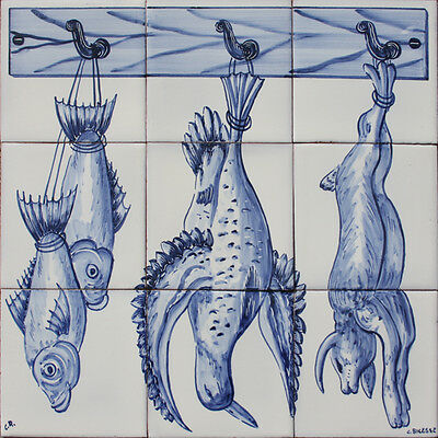 Portuguese Traditional Clay Azulejos Tiles Panel CORREIO MOR KITCHEN ANIMALS