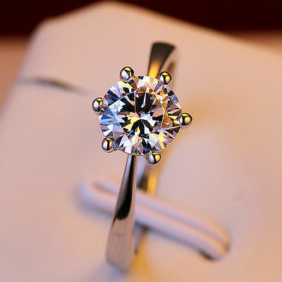 2ct Round cut CZ Silver Solitaire Engagement Wedding Ring Women Fashion Jewelry