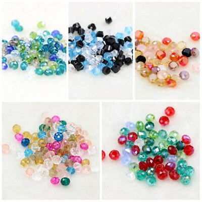 100pcs New Faceted Crystal Glass Loose Beads DIY Findings 4mm/5.5mm/6mm/8mm