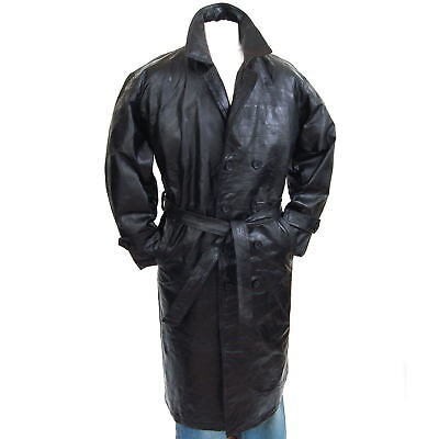 Mens Trench Coat Genuine Leather Double Breasted Long Jacket Full Length Blazer