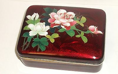 Rare Cloisonne Ginbari Pigeon Blood Red Enamel Pink & White Rose Humidor Jar Box