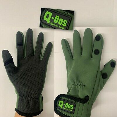 NEW Q DOS Neoprene Fishing Green Gloves Folding Fingers Shooting Hunting M L XL
