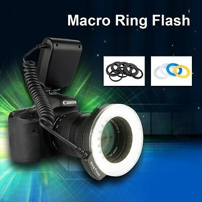 48 LED Macro Ring Flash Light 8 Adapter for Canon Nikon Panasonic Pentax DSLR AU