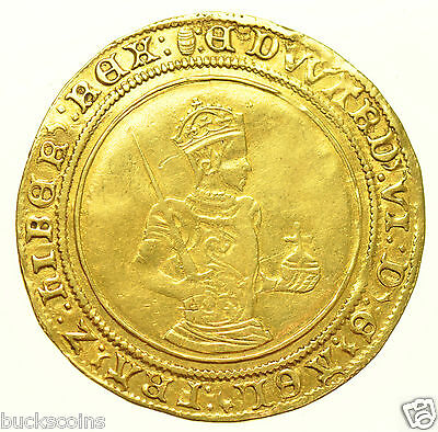 VERY RARE EDWARD VI SOVEREIGN [1551-3], mm. TUN, BRITISH HAMMERED GOLD COIN