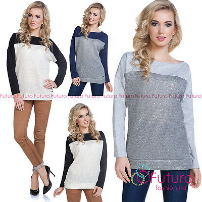 Womens Knitted Sequined Jumper Pullover Sweater Blouse Top Sweat Sizes 8-12 218