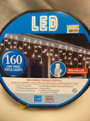 NEW-160 Ct Reel Cool White LED Icicle Lights-20' Lighted Length