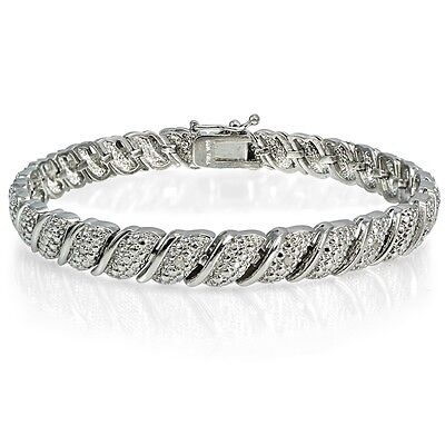 1/10ct TDW Diamond Fancy Tennis Bracelet in Silver Plated Brass