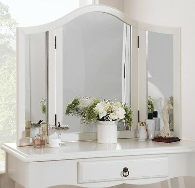 Romance white dressing table mirror.Stunning 3 way mirror,angle adjust. QUALITY