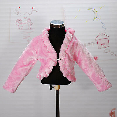 New Girls Pink Faux Fur Long Sleeves Coat Bolero 6-7 Years