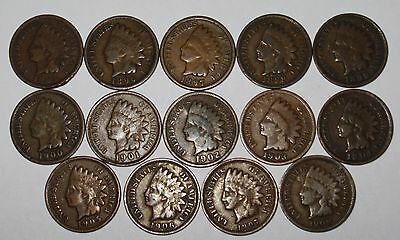 Starter Set of 14 Different Indian Head Cents From 1895 to 1908 Grading GOOD/VG