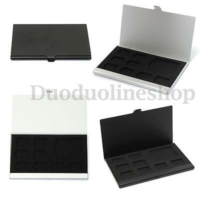9 Micro SD/SD Metal Cases Memory Card Storage Holder Box Protector+8 TF&1 SD