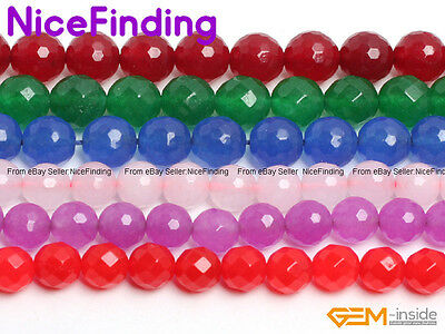 """4-16mm Mixed Color Round Faceted Jade Gemstone Loose Beads Jewellery Making 15"""""""