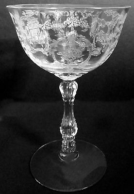 Fostoria Glass Clear Crystal Navarre Etch 6oz Stemware Low Sherbet Goblet