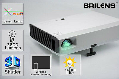 Brilens LS1280 3D LED DLP Pico Laser Video Projector Mini Smart Wifi HD 1080P