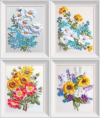 4x Ribbon Embroidery Kits Blooming Flowers Needlework Craft Kit RE3044
