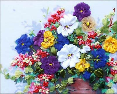 Ribbon Embroidery Kit Flowers Are Blooming Needlework Craft Kit RE3046