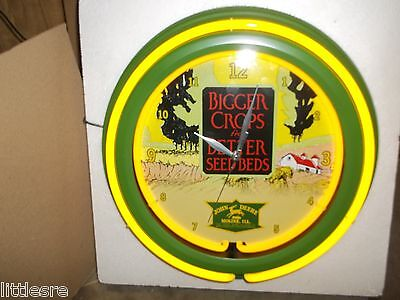 JOHN DEERE NEW IN BOX DBL NEON 14.5in CLOCK GREAT FOR SHOP, MAN CAVE, OR GARAGE