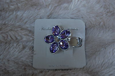 "Purple Gem Flower measuring 2 inches on Silver Plastic 2.5"" Alligator Clip"