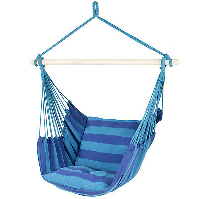 Hammock Hanging Rope Chair Porch Swing Seat Patio Camping Portable - Blue Stripe