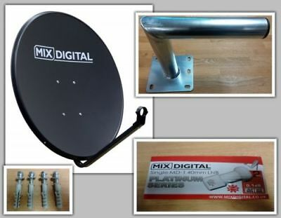 60cm Solid Satellite Dish with Single 0.1dB LNB and 250 Galvanised Wall Mount