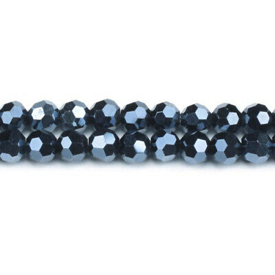 Strand Of 70+  Blue/Black Czech Crystal Glass 6mm Faceted Round Beads GC3550-2