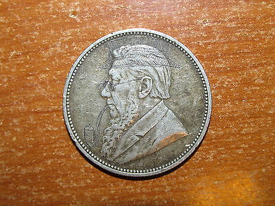 ZAR South Africa 1896 silver 2 Shillings coin ENGRAVED HAT PIPE  Paul Kruger
