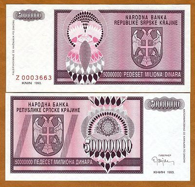 Croatia, Knin 50,000,000 Dinara, 1993, Pick R14, Z-Prefix UNC > Replacement