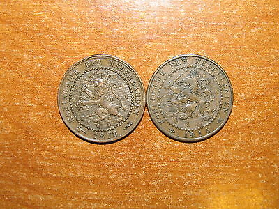 Netherlands 1878 and 1904 Cent coin lot Very Fine nice