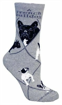Adult Size Medium FRENCH BULLDOG Adult Socks/Grey Made in USA