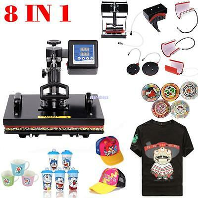 Multifunction Heat Press 8in1 T-Shirt Mug Cap Plate Sublimation Transfer Printer
