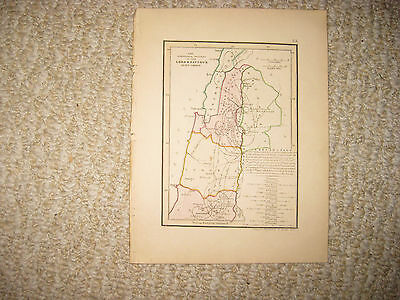 Antique 1836 Lord & Saviour Jesus Christ Israel Holy Land Handcolored Map Superb