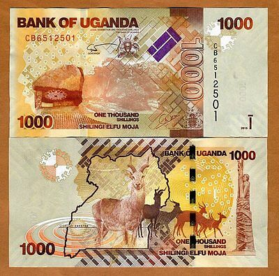 Uganda, 1000 (1,000) Shillings, 2015, Pick 49 (49d), UNC > Antelopes