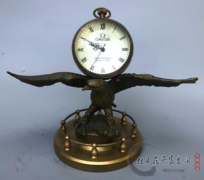 Collectible Decorated Old Handwork Copper Carved Eagle Mechanical Table Clock