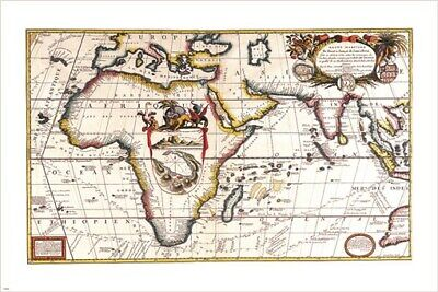 1690 RARE vintage map of AFRICA cartography poster V CORONELLIC 24X36