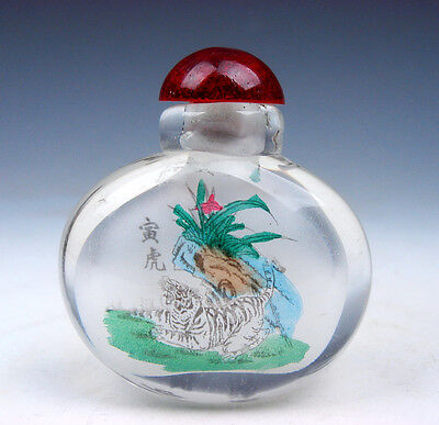 Peking Glass Inside *Zodiac Tiger* Reverse Hand Painted Snuff Bottle #01171605
